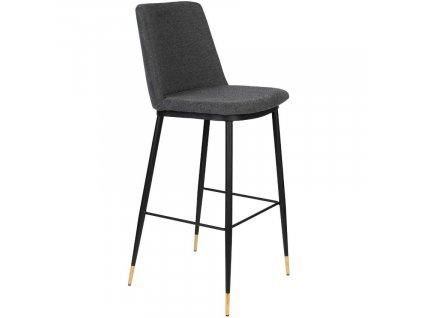 Tmavě šedá látková barová židle WLL LIONEL 75 cm