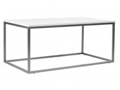 Bílý konferenční stolek FormWood Villa 110 x 60 cm se stříbrnou podnoží