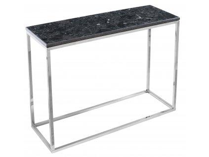 Černý kamenný toaletní stolek RGE Accent se stříbrnou podnoží 100 cm