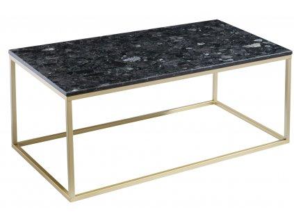 Černý kamenný konferenční stolek RGE Accent se zlatou podnoží 110 cm