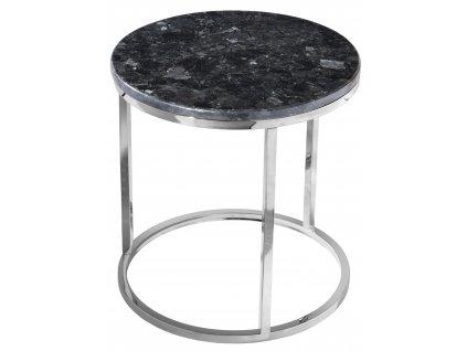 Černý kamenný konferenční stolek RGE Accent se stříbrnou podnoží Ø 50 cm