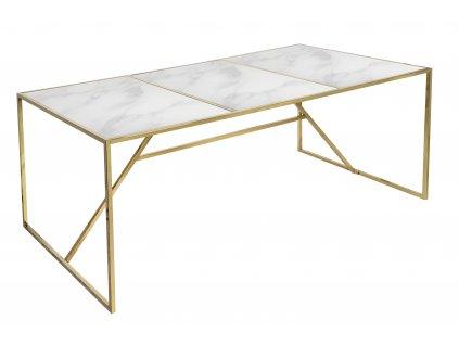 Bílý mramorový jídelní stůl RGE New York 185 x 90 cm se zlatou podnoží