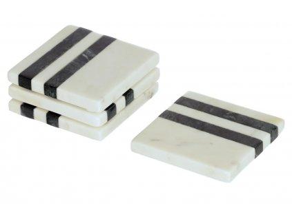 Bílo černý mramorový set čtyř čtvercových podtácků LaForma Bergman
