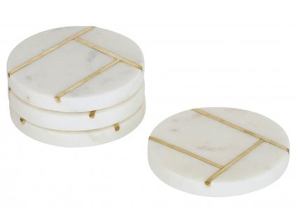 Bílý mramorový set čtyř kulatých podtácků LaForma Tahis