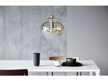 Hnědo zlaté skleněné závěsné světlo Frandsen Grace 30 cm