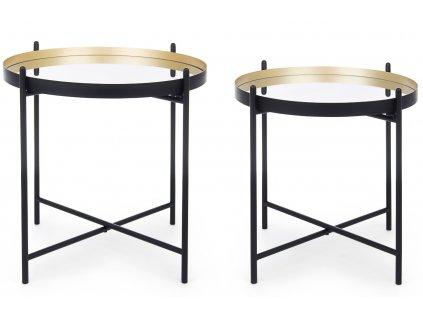 Set dvou černých kovových konferenčních stolků Bizzotto Nucleos 53/59 cm