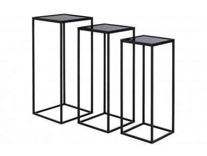 Set tří černých kovových konferenčních stolků Bizzotto Nucleos 65/70/75 cm