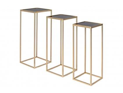 Set tří zlatých kovových konferenčních stolků Bizzotto Nucleos 65/70/75 cm