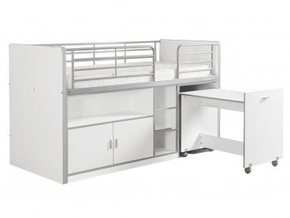 Bílá dřevěná patrová postel se stolkem a komodou Vipack Bonny 200 x 90 cm