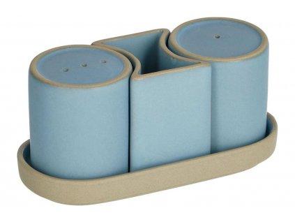 Modrá porcelánová sada slánky a pepřenky LaForma Midori