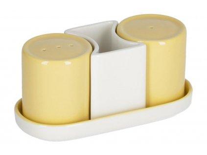 Žlutá porcelánová sada slánky a pepřenky LaForma Midori