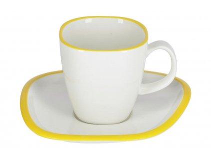 Bílo žlutý porcelánový šálek a podšálek LaForma Odalin