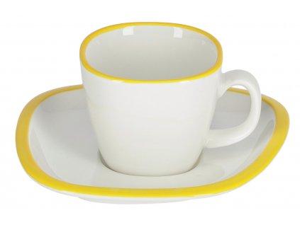 Malý bílo žlutý porcelánový šálek a podšálek LaForma Odalin