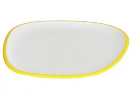 Bílo žlutý porcelánový dezertní talíř LaForma Odalin