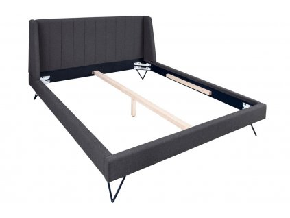 Antracitově šedá látková postel Josie 180 x 200 cm