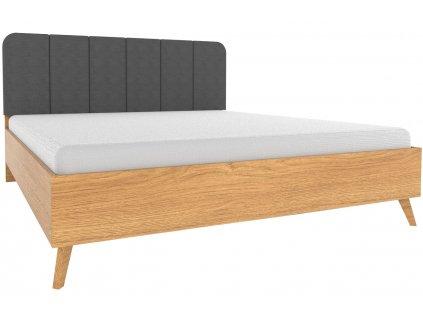 Dubová postel Thia 180 x 200 cm s látkovým čelem