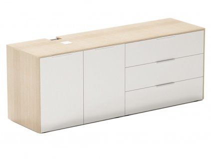 Bílá dubová kancelářská komoda FormWood Thor 161,8 x 46,5 cm