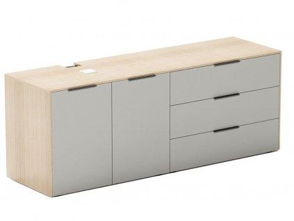 Šedá dubová kancelářská komoda FormWood Thor 161,8 x 46,5 cm