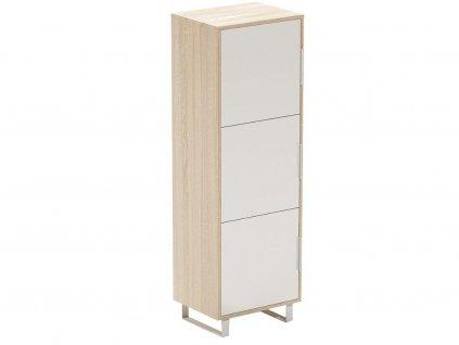 Bílá dubová kancelářská skříň FormWood Thor 158,2 cm x 52 cm