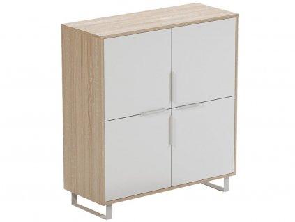 Bílá dubová kancelářská skříň FormWood Thor 100 x 33 cm