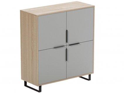 Šedá dubová kancelářská skříň FormWood Thor 100 x 33 cm