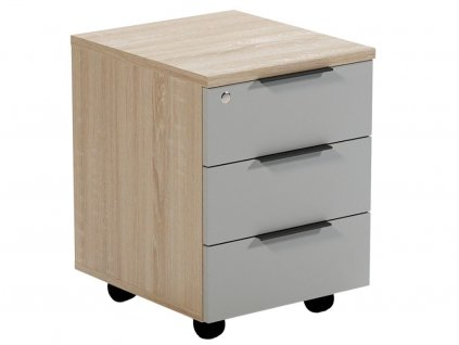 Šedý dubový kancelářský kontejner 42,2 x 56,2 cm