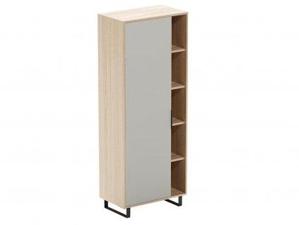 Šedá dubová kancelářská skříň s nikou FormWood Thor 180 x 70 cm