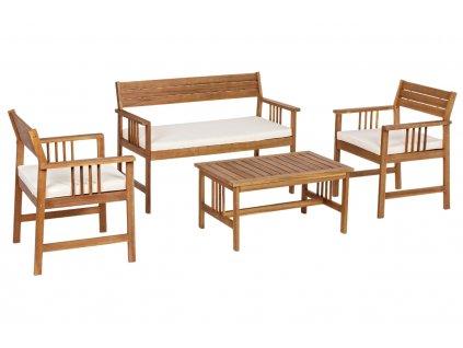 Akátový zahradní set stolku, 2 křesel a pohovky Bizzotto Nonemi