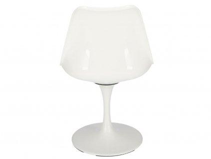 Bílá plastová otočná židle Tulip s šedým sedákem