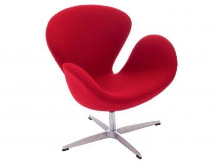 Červené kašmírové otočné křeslo Swan
