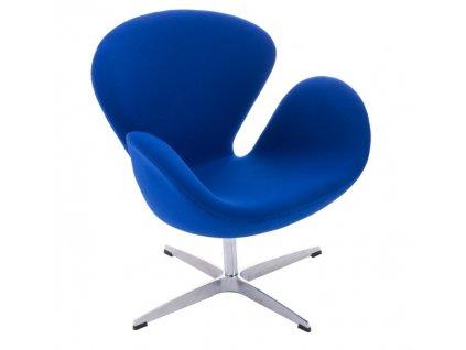 Designové modré kašmírové otočné křeslo Swan