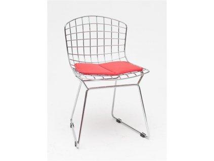 Drátěná dětská židle Harry s červeným podsedákem z chromované oceli
