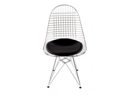 Černá kovová jídelní židle DKR