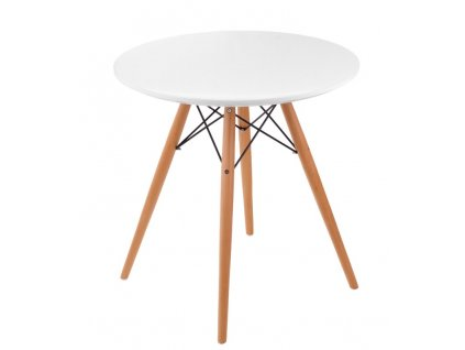 Bílý lakovaný kulatý jídelní stůl DSW průměr 70 cm s dřevěnou podnoží