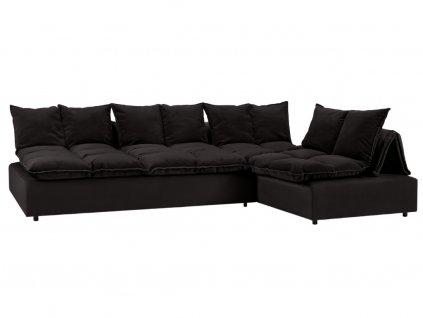 Černá sametová modulární rohová pohovka MICADONI MONZA 326 x 240 cm, levá/pravá