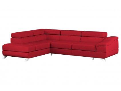 Červená koženková rozkládací rohová pohovka MICADONI ONYX 272 cm, levá