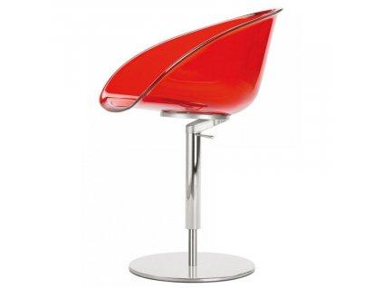 Červená plastová otočná jídelní židle Gliss 951