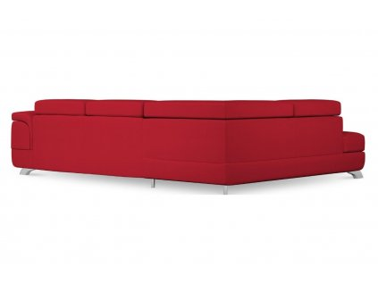 Červená koženková rozkládací rohová pohovka MICADONI ONYX 272 cm, pravá