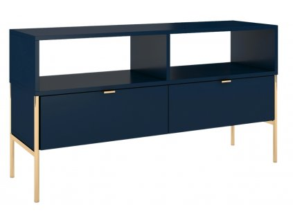 Tmavě modrý TV stolek Skandica Polka se zlatou podnoží 120 x 37 cm