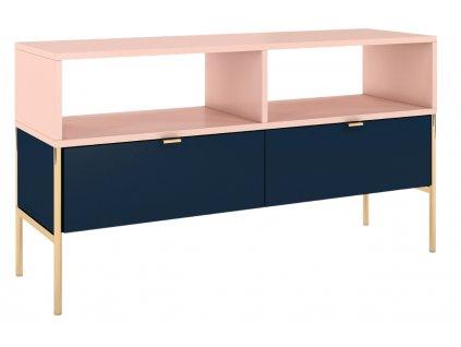 Modro růžový TV stolek Skandica Polka se zlatou podnoží 120 x 37 cm