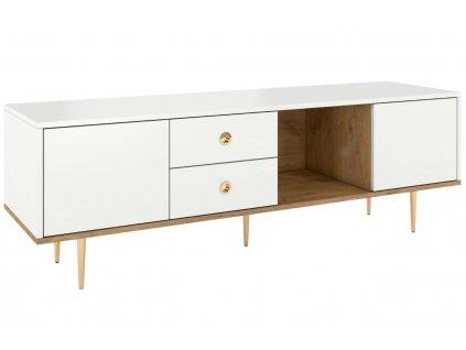Bílý TV stolek Skandica Harmoni se zlatou podnoží 160 x 45 cm