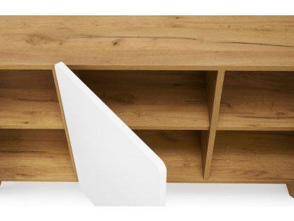 Bílá komoda Skandica Lett s dubovou podnoží 135 x 40 cm