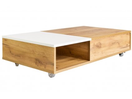 Bílý konferenční stolek Skandica Platt s dubovým dekorem 110 x 60 cm