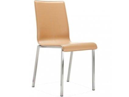 Krémová kožená židle Kuadra 1291