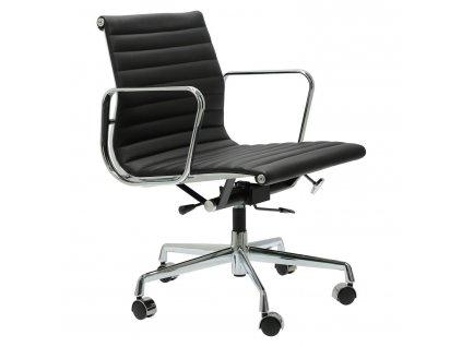 Černé kožené kancelářské křeslo Soft Pad Group 117