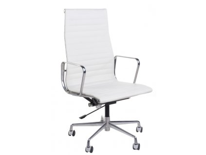 Kancelářské křeslo Soft Pad Group 119, bílá kůže/chrom