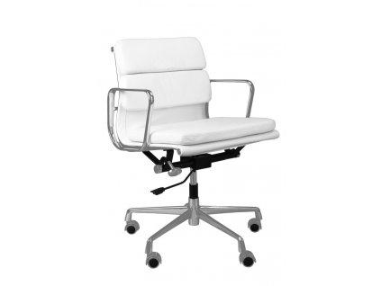 Bílá kožená kancelářská židle Soft Pad 217 s chromovanou podnoží na kolečkách