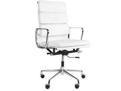 Bílé kožené kancelářské křeslo Soft Pad Group 219