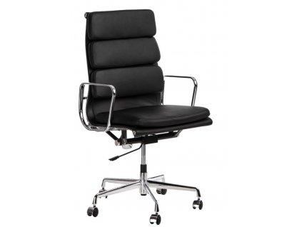 Černá kožená kancelářská židle Soft Pad Group 219