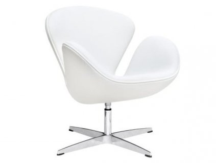 Bílé kožené otočné křeslo Swan